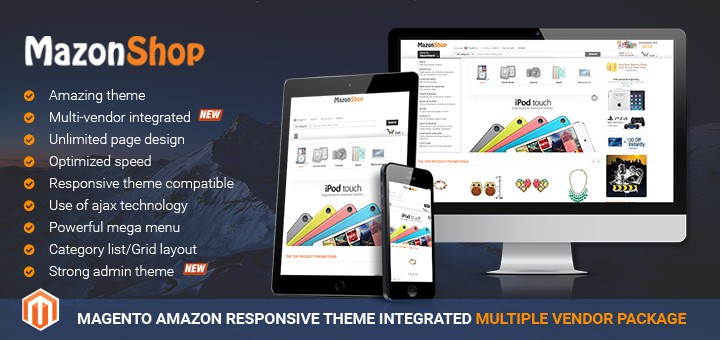 Magento Amazon theme package with integration of Magento multi vendor